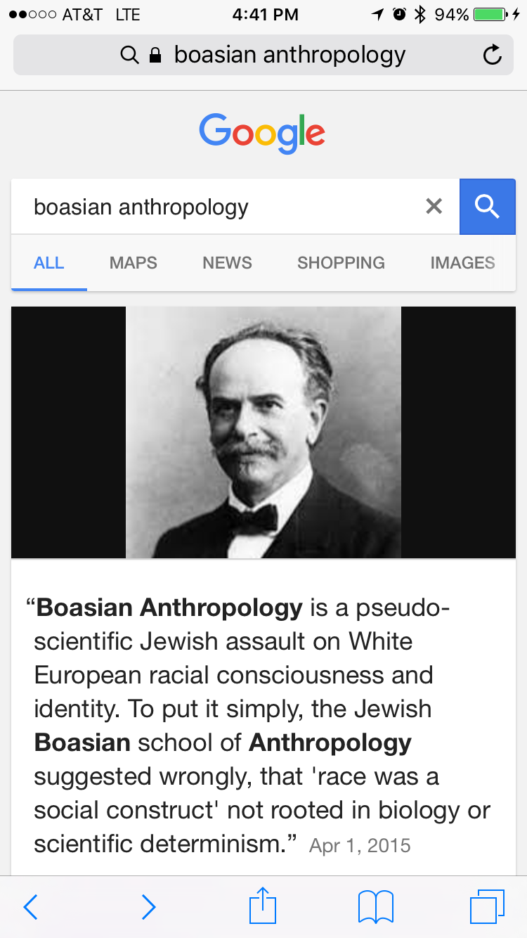 For those who know about the history of Boasian anthropology, the irony   and the insult  that is contained in both the website, and in Google's  decision ...